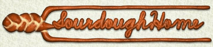 "Our logo ""Sourdoughhome"" in script made to look like bread dough"