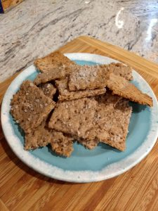 Our salted spent grain rye crackers