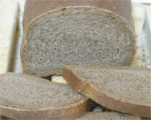 A crumb closeup of dark American rye
