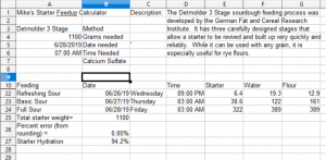 A look at the control area of the spreadsheet