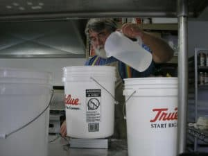 When measuring ingredients, I use separate buckets for wet and dry ingredients