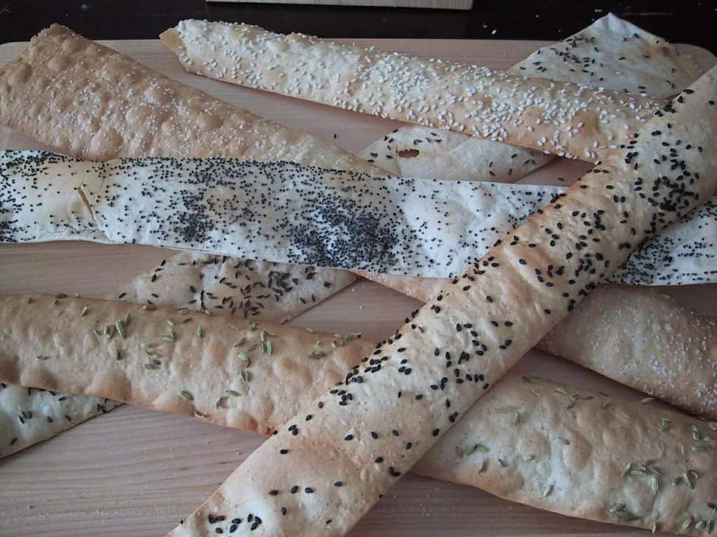 Lavash crackers with a variety of toppings