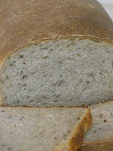 A crumb closeup of light American rye