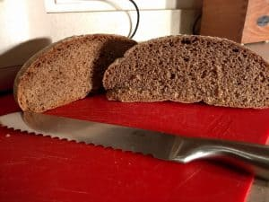 Crumb shot of whole wheat boule