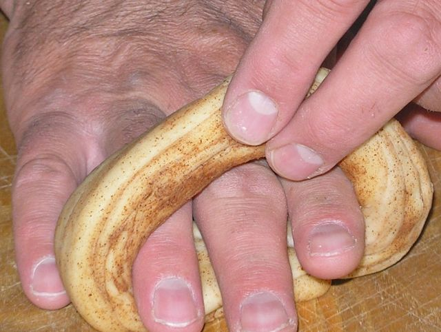 then roll the union tight with your fingers in the bagel