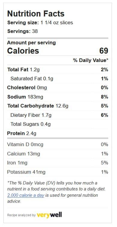 Seven Grain Cereal Bread Nutritional analysis