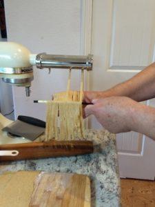 Catching fettuccine on a chop stick