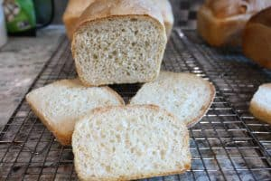 hooked baguette loaf, crumb shot
