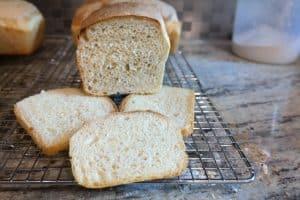 Rolled baguette loaf, crumb shot