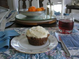 Sourdough walnut carrot pineapple muffins with a cream cheese frosting - oh my!